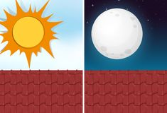 Day and night view from roof. Illustration stock illustration