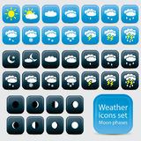 Day and night weather Icons. .Vector set collectio Royalty Free Stock Photos