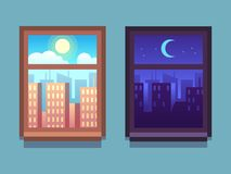 Day and night window. Cartoon skyscrapers at night with moon and stars, at day with sun inside home windows vector illustration