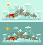 Day and Night winter landscapes. Flat design vector Day and Night nature winter landscapes illustration with house, bench, sun, hills, mountains, moon, stars Stock Photo