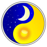 Day and night yin yang. Version of the symbol of good and evil, yin and yang presented as day and night Royalty Free Stock Images