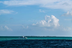 Boat On The Ocean Near Belize Royalty Free Stock Image