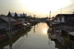 Day off for the floating market. Amphawa floating market location on a monday Stock Images
