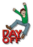 Day off. Happy Jump - Day off sign, with young male jumping, smiling Royalty Free Stock Image