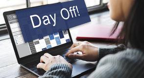 Day Off Holiday Vacation Relaxation Getaway Concept. Woman Planning Searching the Internet Royalty Free Stock Photos