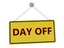 Day off sign. Day off door sign with chain isolated on white background ,3d rendered Stock Photography