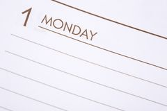 Day One Monday Stock Photography
