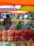 Day open air market selling fruits/vegetable. Daytime open-air market that selling fruits and vegetable in South East Asia, some of them can be permanent at on e Stock Photography
