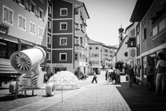 A day in Ortisei, Dolimiti, Trentino Alto Adige, Italy. BW photo of the center of Ortisei, Dolimiti Alps, Italy Royalty Free Stock Images