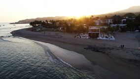Day outdoor destination beach wedding sunset drone
