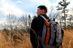 Day Packing. A Hiker Rests on The Trail During A Day Hike Royalty Free Stock Photo