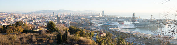 Day panoramic view of picturesque Barcelona cityscape, Spain Royalty Free Stock Images