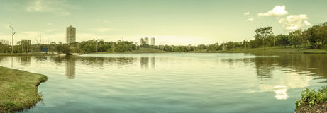 Day at park with a lake, green vegetation and some buildings of the city on background Royalty Free Stock Photography