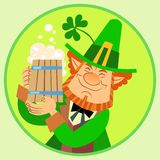 Day Patrick green leprechaun with beer and. Day Patrick green red leprechaun with beer and Shamrock happy royalty free illustration