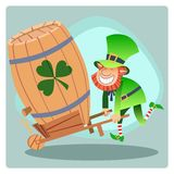 Day Patrick green leprechaun lucky keg of beer. Day Patrick green leprechaun lucky keg beer fun holiday feast Shamrock royalty free illustration