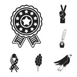 Day of Patriot, holiday black icons in set collection for design. American tradition vector symbol stock web. Day of Patriot, holiday black icons in set Royalty Free Stock Image