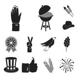 Day of Patriot, holiday black icons in set collection for design. American tradition vector symbol stock web. Day of Patriot, holiday black icons in set Stock Image