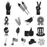 Day of Patriot, holiday black icons in set collection for design. American tradition vector symbol stock web. Day of Patriot, holiday black icons in set Stock Photos