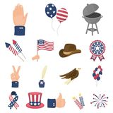 Day of Patriot, holiday cartoon icons in set collection for design. American tradition vector symbol stock web. Day of Patriot, holiday cartoon icons in set Royalty Free Stock Images