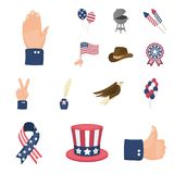 Day of Patriot, holiday cartoon icons in set collection for design. American tradition vector symbol stock web. Day of Patriot, holiday cartoon icons in set Stock Image