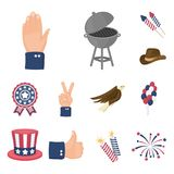 Day of Patriot, holiday cartoon icons in set collection for design. American tradition vector symbol stock web. Day of Patriot, holiday cartoon icons in set Stock Photos