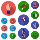 Day of Patriot, holiday flat icons in set collection for design. American tradition vector symbol stock web illustration. Day of Patriot, holiday flat icons in Stock Image