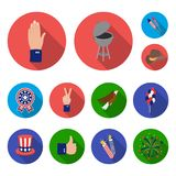 Day of Patriot, holiday flat icons in set collection for design. American tradition vector symbol stock web illustration. Day of Patriot, holiday flat icons in Royalty Free Stock Image