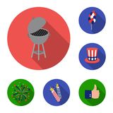 Day of Patriot, holiday flat icons in set collection for design. American tradition vector symbol stock web illustration. Day of Patriot, holiday flat icons in Royalty Free Stock Photos