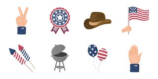 Day of Patriot, holiday icons in set collection for design.. Day of Patriot, holiday icons in set collection for design. American tradition vector symbol stock Royalty Free Stock Photo