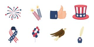 Day of Patriot, holiday icons in set collection for design.. Day of Patriot, holiday icons in set collection for design. American tradition vector symbol stock Stock Photography