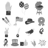 Day of Patriot, holiday monochrome icons in set collection for design. American tradition vector symbol stock web. Day of Patriot, holiday monochrome icons in Stock Image