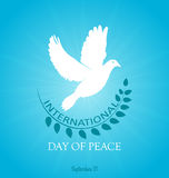 Day of peace. International Peace Day. Peace dove with olive branch. Poster, banner poster Stock Images
