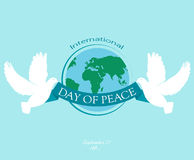 Day of peace. International Peace Day. Peace dove with olive branch. Poster, banner poster Royalty Free Stock Image