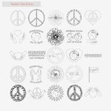 Day of peace Set vector style line icons on white. Background Stock Photo