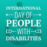 Day of people with disabilities concept background, cartoon style. Day of people with disabilities concept background. Cartoon illustration of day of people with vector illustration