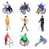 Day persons disabilities icon set, isometric style. Day persons disabilities icon set. Isometric set of day persons disabilities vector icons for web design stock illustration