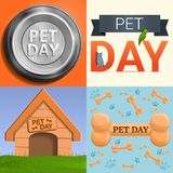 Day pet banner set, cartoon style vector illustration
