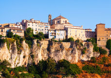 Day picturesque view of houses on rock in Cuenca Royalty Free Stock Photos