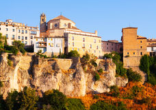 Day picturesque view of houses on rock in Cuenca Royalty Free Stock Photography