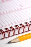 Day planner. Open day planner with a pencil stock photography