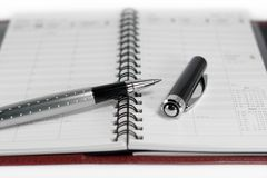 Day planner & pen. Open day planner with a ballpoint pen Royalty Free Stock Photography