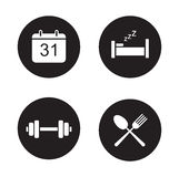 Day planning black icons set Stock Images