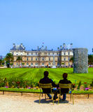 A day in a public park. A couplein Jardin de Luxembourg, Paris stock photography