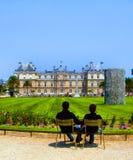 A day in a public park. A couplein Jardin de Luxembourg, Paris Stock Photography