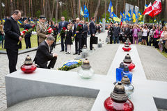 Day of Remembrance of the Victims of Political Repression. KIEV, UKRAINE - May. 17, 2015: President of Ukraine Petro Poroshenko and Ambassador Extraordinary and Royalty Free Stock Photos