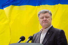 Day of Remembrance of the Victims of Political Repression. KIEV, UKRAINE - May. 17, 2015: President of Ukraine Petro Poroshenko speaks on Remembrance Day of Stock Images