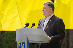 Day of Remembrance of the Victims of Political Repression. KIEV, UKRAINE - May. 17, 2015: President of Ukraine Petro Poroshenko speaks on Remembrance Day of Royalty Free Stock Image