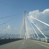 Day Rio Antirio Bridge. Blue Sky stock photo