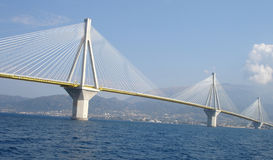 Day Rio Antirio Bridge. Blue Sky royalty free stock image