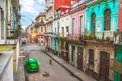 Magic old havana. The day rises in the mythical street of Havana Royalty Free Stock Image